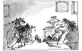 Il signor Sporcelli cominciò a mangiare con avidità arrotolando sulla forchetta i lunghi fili ricoperti di pomodoro e cacciandoseli in bocca. Gli Sporcelli, illustrazione di Quentin Blake, traduzione di Paola Forti, edizioni Salani